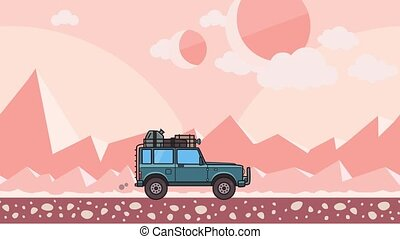 Animated SUV car with luggage on the roof trunk riding through extraterrestrial desert landscape. Moving off-road vehicle on pink mountain desert background. Flat animation.