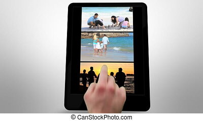 Animated tablet computer displaying videos about family...