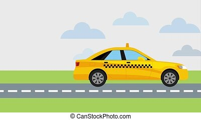 animated taxi cab vehicle on road clouds looped