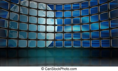 Animated Television Monitors with earth revolving loop