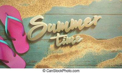 Animated text Summer Time and closeup sandy beach with sandal on wood, summer background. Elegant and luxury dynamic 80s, 90s retro style for advertising and promo theme