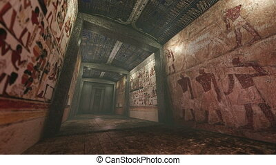 Animated tomb with old wallpaintings in ancient Egypt - A 3D...