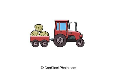 Animated tractor with trolley full of hay. Moving farm...