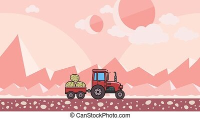 Animated tractor with trolley full of hay riding through...