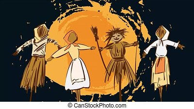 Motion graphic for folk festival. Traditional Scarecrow is burned the Shrovetide feast. Farewell to winter. Animated traditional symbols: scarecrow winter, pancak, sun on black screen. Stock video 4k