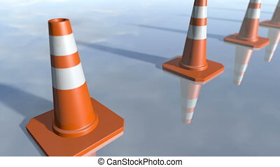 Animated traffic cone pilons in a row. 3D rendering 4K