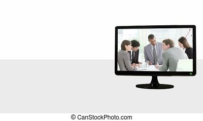 Animated TV screens about meetings