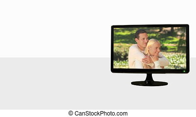 Animated TV screens about romance