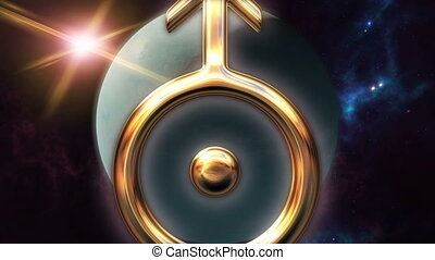 Animated uranus zodiac horoscope symbol and planet. 3D...