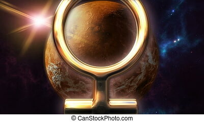 Animated venus zodiac horoscope symbol and planet. 3D...