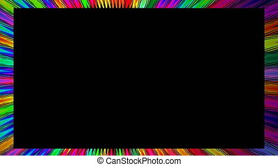 Animated video frame with rainbow colorful rays on black...