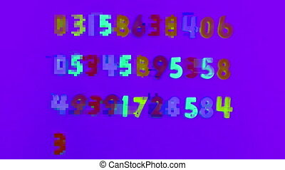 Animation of multi coloured numbers moving around against changing colours