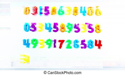 Animated video of numbers on white background - Animation of...