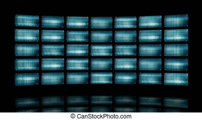Animated video wall with distorted screens 4K. This clip is...