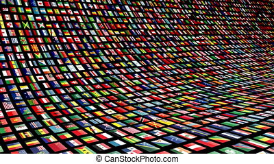 Animated video wall with flags of many nations. Loop-able 4K...