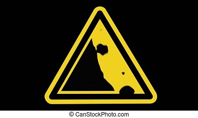 Animated Rocks Falling On A Unstable Cliff Warning Sign