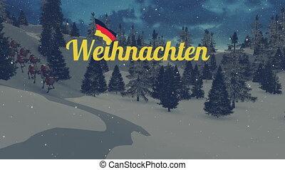 Animated Weihnachten text and Santa - Animated German...