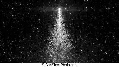 Animated White Christmas Pine Tree Star background seamless loop