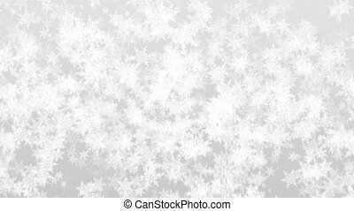 Animated white detailed snowflakes background for text or titles. Christmas greeting card