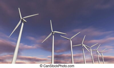 Animated wind turbines in a row. Loop-able 4K - A 3D...