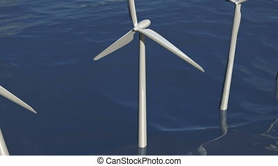 Animated wind turbines in an ocean windfarm - A 3D animation...