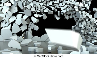 animatie, afbeelden, een, bouwvallig, stortend, wall.