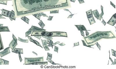 animatie, dollars, het vallen, looped