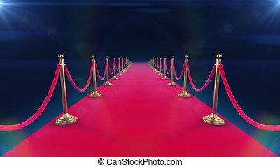 animatie, het uitrollen zich, rood tapijt