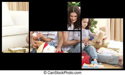 animatie, het voorstellen, twee, families, c
