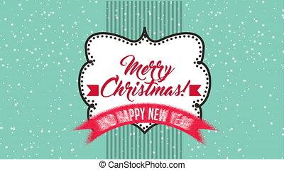 animatie, kerstmis, vrolijk, etiket