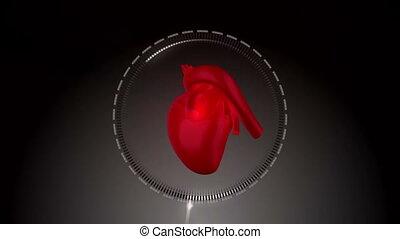 animatie, met, een, hart, afstraffing, volgende