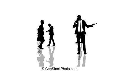 animatie, met, zakenlui, silhouettes, bewegen naar, de, camera., seamlessly, loopable, animation.