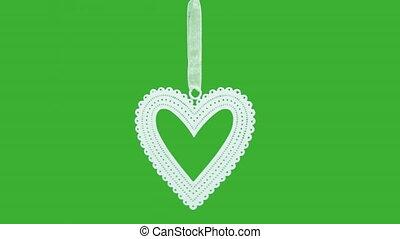 animatie, van, de, het vallen, ronddraaien, rood, vonkeelt, in vorm, van, hearts., groene, scherm, achtergrond.