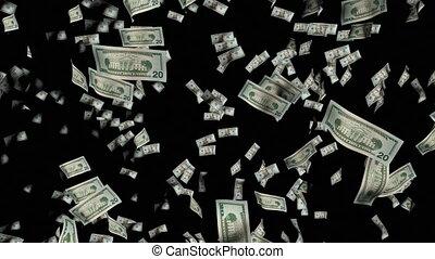 animatie, van, dollars, vallen beneden