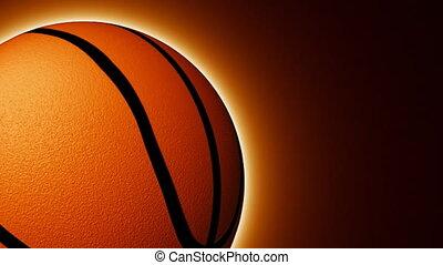 animatie, van, een, bal van, basketbal