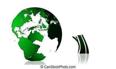 animatie, van, een, groene aarde, planet.