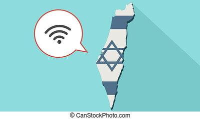 animatie, van, een, lang, schaduw, israël, kaart, met, zijn, vlag, en, een, komisch, balloon, met, een, wifi, signaal, meldingsbord