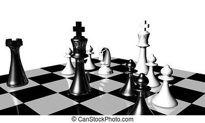 animatie, van, een, schaakspel stel, turning.