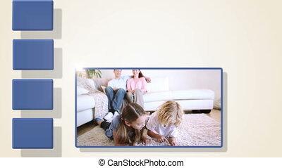 animatie, van, gezin, video's