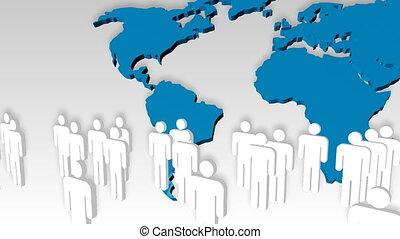 animatie, van, mensen, pictogram, met, de wereld, in, de, achtergrond