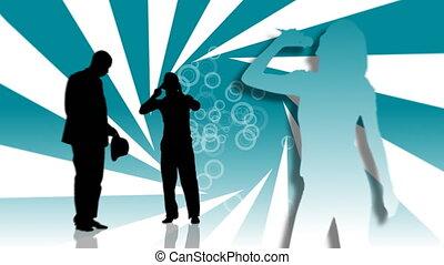 animatie, van, mensen, silhouettes, het zingen, en, dancing