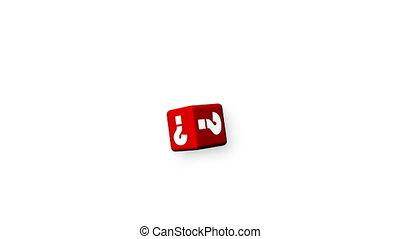 animatie, van, rode kubus, met, vraagtekens, het vallen, omlaag., twijfel, en, onzekerheid, concept