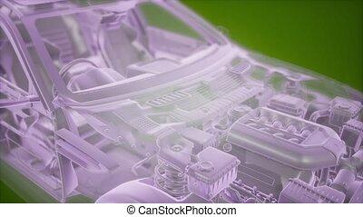 animatie, wireframe, model, 3d, auto, holographic