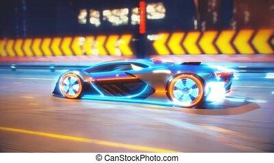 animation, énergie, fluides, voiture, électrique, 4k, route, souffles, aller, avenir