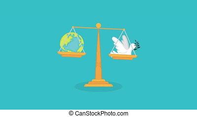 animation, équilibre, égalité, droits, humain