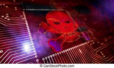 animation, 3d, crime, loopable, cyber, symboles, crâne