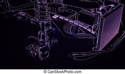 animation, 3d, moteur voiture, wireframe, holographic, modèle