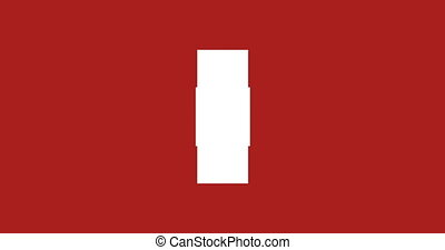 animation - 3d rotation loopable white cross isolated on red background. Footage with alpha matte.