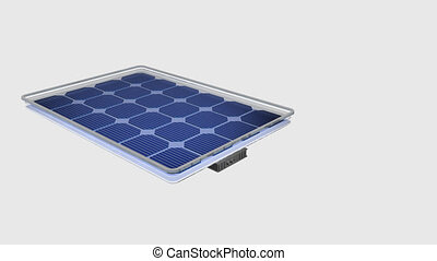 Animation 3D shows how a solar panel is divided in its parts, the names of each part appear, then the parts of the solar panel are rejoined on a white background - Renewable Energy