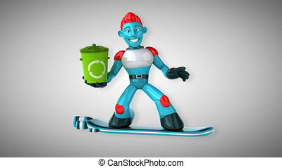 animation, -, 3d, surfer, robot